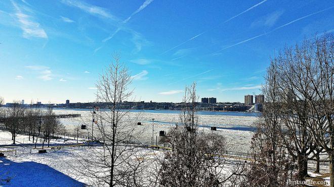 Snow covered Riverside Park
